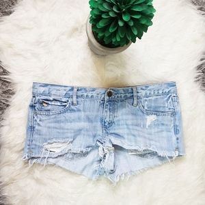 Abercrombie & Fitch Distressed Blue Jean Shorts